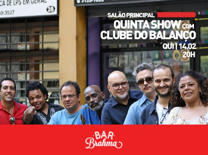 Cartão informativo com a data do show do artista Clube do Balanço no Bar Brahma